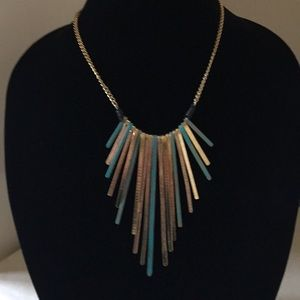 Turquoise & Gold Tone Necklace